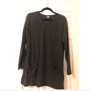J Jill Dark Gray V-neck Long Sleeve Pullover